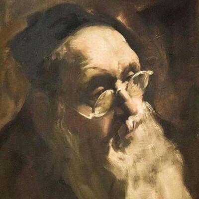 Adolf Adler, 'Portrait of a Rabbi, Judaica Oil Painting', 20th Century
