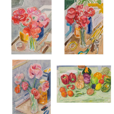 Nell Blaine, 'Four Artworks: Pink Poppies; Pink Poppies, II; Shirley Poppies; Fruit and Vegetables, II'
