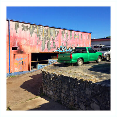 William Greiner, 'Body Shop With Green Pick Up, Fort Worth TX', 2018