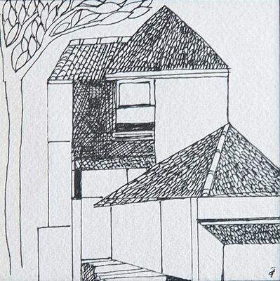 "Badri Narayan, 'House, Ink on Paper by Indian Padmashree Artist Badri Narayan ""In Stock""', ca. Circa"