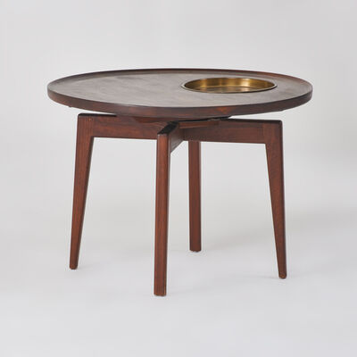 Jens Risom Designs, Inc., 'Swivel top low table with integrated brass tray', 1960s