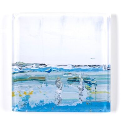 "John Schuyler, '""Vetro 0918-01 D"" abstract paintings behind an acrylic tile', 2018"