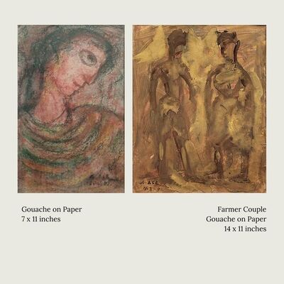 """Gobardhan Ash, 'Untitled, Gouache on Paper (Set of 2) by Modern Indian Artist """"In Stock""""', 1980-1992"""
