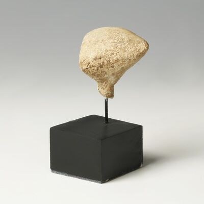 Ancient, 'Small Marble Stargazer Head Miniature Early Sculpture Figure Bespoke Display Stand Near East', 2500 BCE-3200 BCE