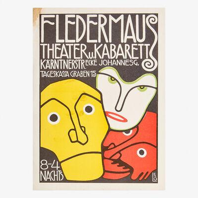 Bertold Loffler, 'Three Masks lithograph poster for Cabaret Fledermaus by Bertold Löffler, Cabaret Fledermaus program design with monkeys by Moritz Jung and Carl Otto Czeschka, together with Wiener Werkstätte envelope and stationary page, Austria', ca. 1907