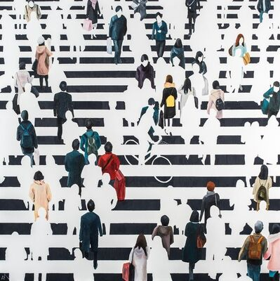 "Martta García Ramo, '""Elementos Discordantes"" oil painting of pedestrians walking in black and white crosswalk', 2019"