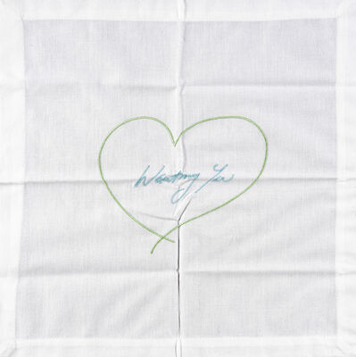 Tracey Emin, 'Wanting You - Napkin (Green & Blue)', 2014