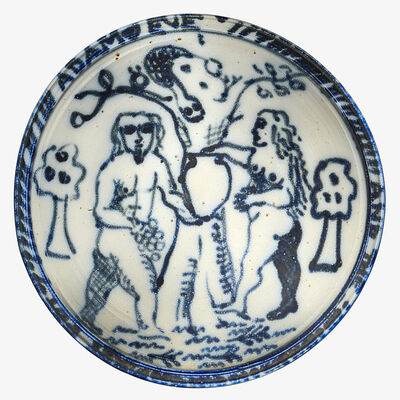 "Ken Ferguson, 'Wall-hanging Adam and Eve charger, ""Adam and Eve and the Pot,"" Shawnee Mission, KS'"