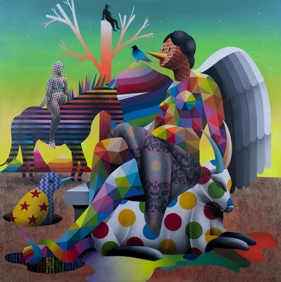 Okuda San Miguel, 'The mysterius knight of God's garden', 2017