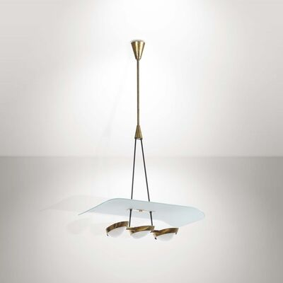 Attributed to Arredoluce, 'A pendant lamp with a brass structure and plexiglas diffusers', 1960 ca.
