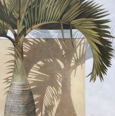 "Michel Brosseau, '""Bottle Palm"" oil painting of green palm leaves with a shadow behind', 2019"