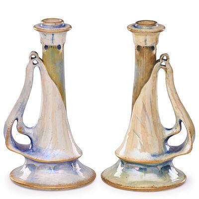 Riessner, Stellmacher & Kessel, 'Two Amphora candlesticks, Turn-Teplitz, Bohemia', ca. 1900