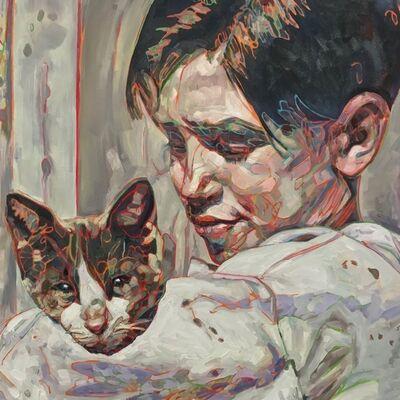 Hung Liu, 'Migrant Child: Cat', 2017