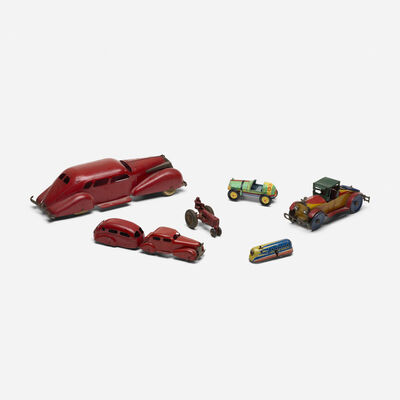 Unknown American, 'collection of six vintage toy cars', c. 1950