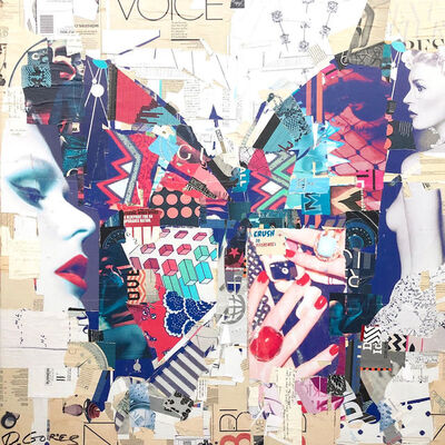 "Derek Gores, '""Natural Cause"" purple, red, turquoise collage of a butterfly with woman', 2019"