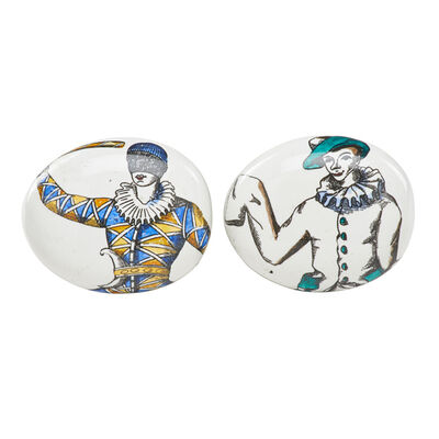 "Piero Fornasetti, 'Two ""pebble"" paperweights with characters from the Commedia dell'arte', 1970s"