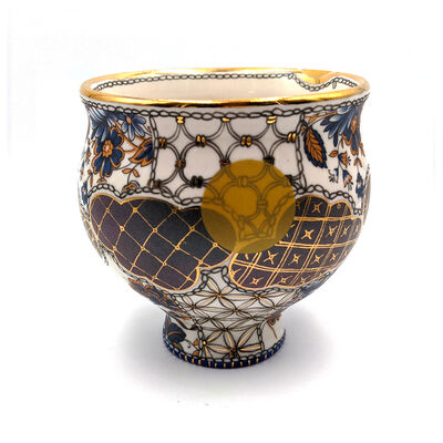 "Melanie Sherman, 'Tea Bowl ""Tu Me Connais VII"" (Yunomi, Blue Vintage Flowers, Gold Luster Lip, Blue Bottom)', 2021"
