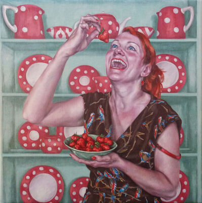 Roxana Halls, 'Laughing While Eating Strawberries'