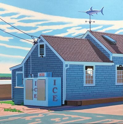 "Rob Brooks, '""Menemsha Ice"" photorealistic oil painting of an ice machine in Martha's Vineyard fishing village', 2019"
