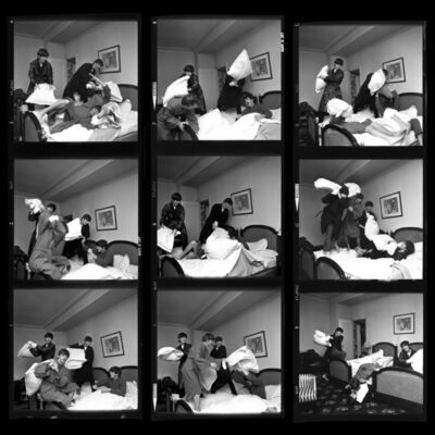 Harry Benson, 'Pillow Fight Times Nine Contact Sheet', 1964