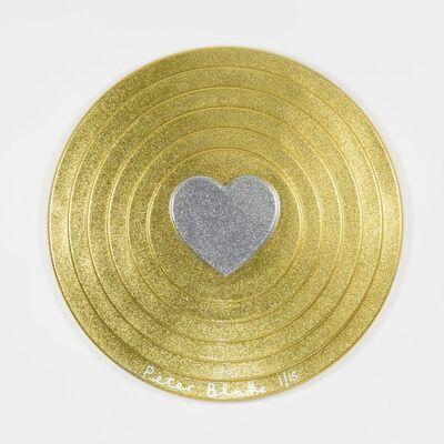 Peter Blake, 'Silver heart on gold Target (metal flake)', 2017