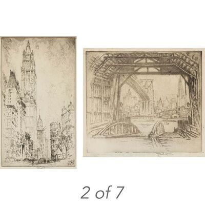 Joseph Pennell, '(i)WALL STREET; WOOLWORTH BUILDING; THE ELEVATED; MONTAGUE TERRACE; THE DESERTED FERRY (WUERTH 344; 675; 789; 832; 838) (ii) LIBERTY STREET (iii) [TRINITY CHURCH]', 1904