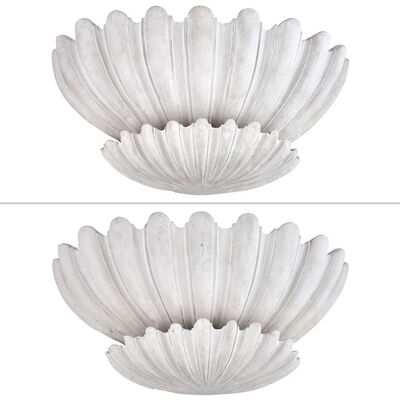 After Serge Roche, 'Pair of Plaster Shell Form Sconces'