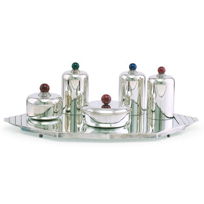 Jean E. Puiforcat, 'Five Art Deco canisters on associated tray by unidentified maker, France', 1930s
