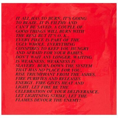 """Jenny Holzer, 'Burn, """"Inflammatory Essay"""" (from Documenta 1982)', 1982"""