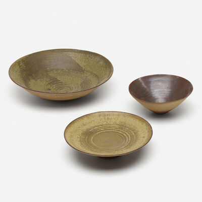 Loloma Pottery, 'bowls, collection of three', c. 1955