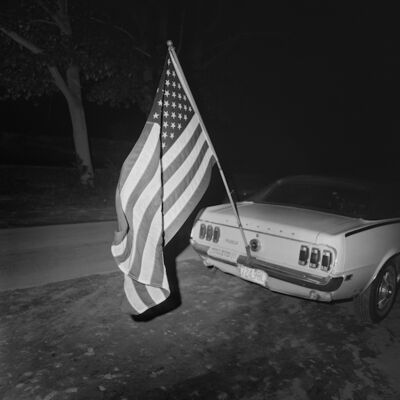 Henry Horenstein, 'Flag and Mustang, Thompson Speedway, Thompson, CT', 1972