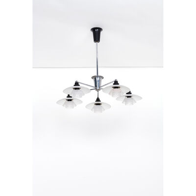 Poul Henningsen, 'PH Star Model  Candlestick five-arm nickel-plated metal and frosted glass', vers 1930