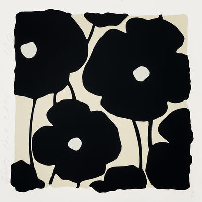 Donald Sultan, 'Three Poppies (Black)', 2020
