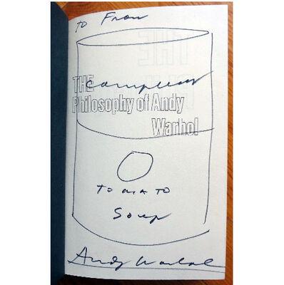 "Andy Warhol, '""Campbell's Soup Can"", 1975, Drawing/Signed Book, ""The Philosophy of Andy Warhol""', 1975"