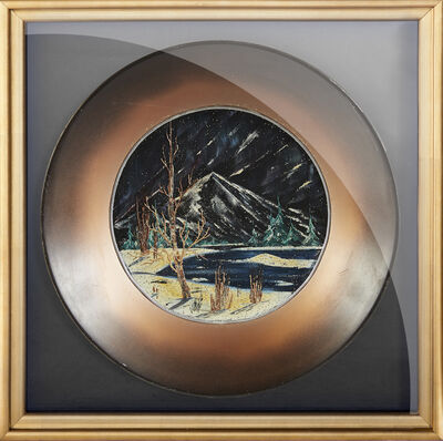 Bob Ross, 'Bob Ross Original Oil on Velvet inside Gold Pan Painting Contemporary Art', 1970-1990
