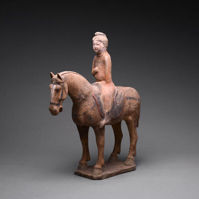 Tang Dynasty, 'Tang Polychrome Horse and Female Rider', 618 AD to 906 AD