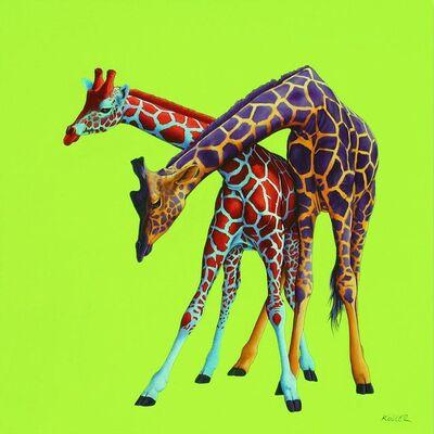Helmut Koller, 'Two Giraffes on Green'