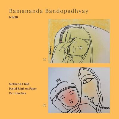 """Ramananda Bandyopadhyay, 'Mother & Child, Pastel Ink on Paper (Set of 2) by Modern Indian Artist """"In Stock""""', 2010-2020"""