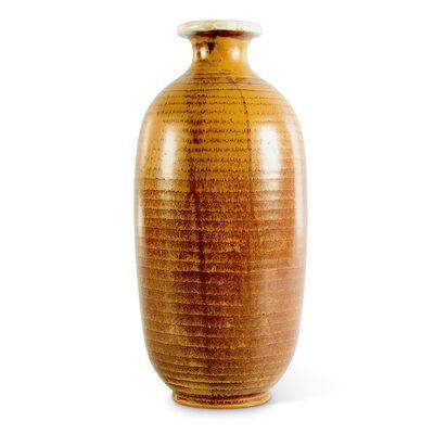 Anna-Lisa Thomson, 'Ridged bottle form vase in ochre', 1930