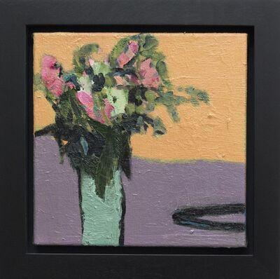 Jennifer Hornyak, 'Flowers with Black Cord - small orange, green, purple, figurative still life oil', 2016