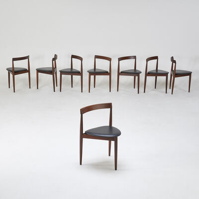 Hans Olsen, 'Assembled set of eight leather-back tripod nesting chairs'