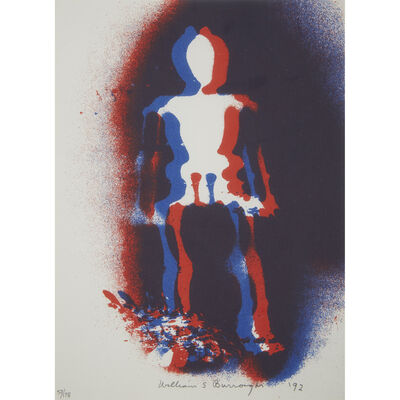 William S. Burroughs, 'Two Works: Figure in Red and Blue; William Burroughs Takes Aim at the Twin Towers from Brooklyn'