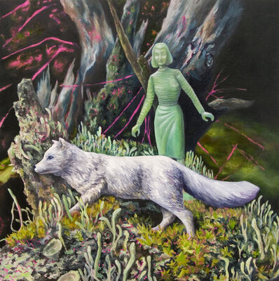 Kendra Lynn Bulgrin, 'Intimate Distance: Green Woman, Arctic Fox, & Lichen', 2018