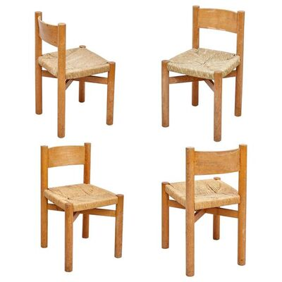 Charlotte Perriand, 'Set of 4 Charlotte Perriand Mid-Century Modern Wood Rattan Meribel French Chairs', ca. 1950