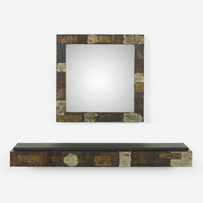 Paul Evans, 'wall-mounted console, model PE 17 and mirror, model PE 18', c. 1970