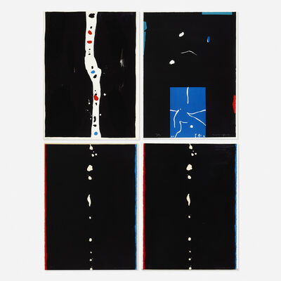 Emerson Woelffer, 'Blue Lake; Untitled #7; Falling Stones; Untitled (four works)', 1977-1983