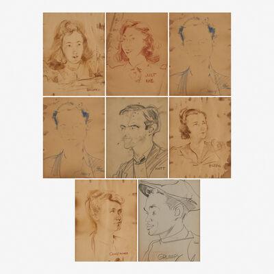 Franz Kline, 'Eight works of art: Mildred, Just Me, Jimmy, Grace, Matt, Eileen, Constance and Grumpy', ca. 1940