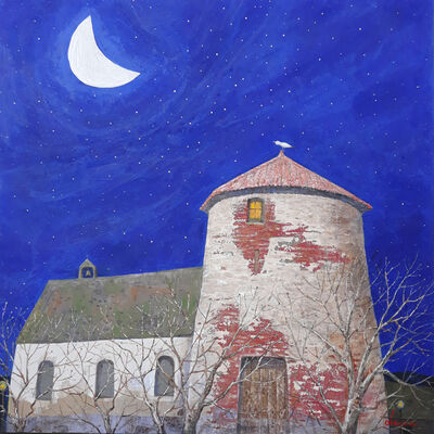 "Kui Dae Lee, '""Clair de lune"" -- zen, quietude, symbolism, spiritual, Asia, imagery, reflection, beauty, dream, peace, prayer, faith, bird, moon', 2021"