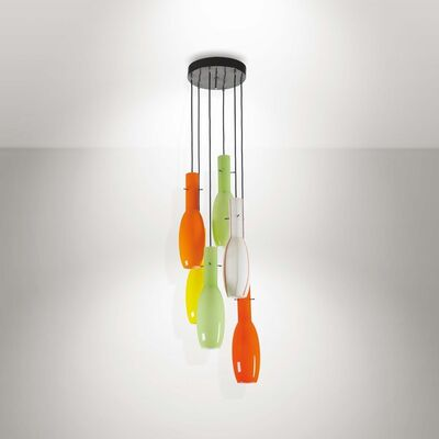 Vistosi, 'A pendant lamp with a lacquered metal structure and Murano glass shades', 1960 ca.