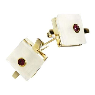 Unknown Designer, '9 Karat British Yellow Gold Set with Square White Chalcedony and Ruby Studs', 2010